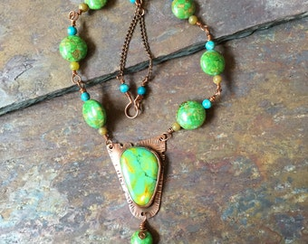 Mohave Green Turquoise Copper Necklace Tribal Southwest