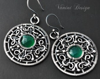 Sphere-Fine999/Sterling Silver,green onyx earrings