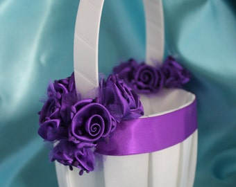 SALE-Ivory or White Flower Girl Basket with Purple Ribbon and Purple Satin Flowers