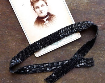 Antique Victorian Black Beadwork Headband or Choker