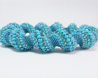 At The Waves Beadwoven Cellini Spiral Bangle Bracelet