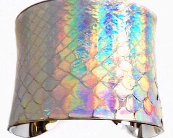 Metallic Silver Opalescent Snakeskin Cuff bracelet  - by UNEARTHED