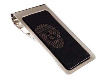 Black Leather Skull Print Money Clip - by UNEARTHED
