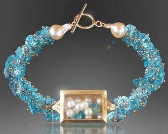 VALENTINES DAY SALE Vintage Watch Case Bracelet with Floating Pearls and Swiss Blue Topaz