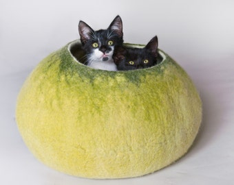Cat Cave / Bed / House / Vessel - Hand Felted Wool - Light Green Bubble - Crisp Contemporary Design - READY TO SHIP