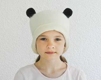 Panda Hat -- Hand Felted Wool -- Size Medium/Large