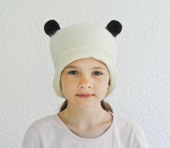 Panda Hat -- Hand Felted Wool -- Size Medium/Large