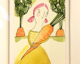 ORIGINAL ACEO, carrot, farmer, Artist trading cards, ATC whimsical watercolor pen and ink by cori dantini