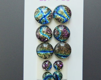 Dichroic Glass Cabs - Lot of Five Matching Pairs - Lot number 30 - Crinklized Dichro