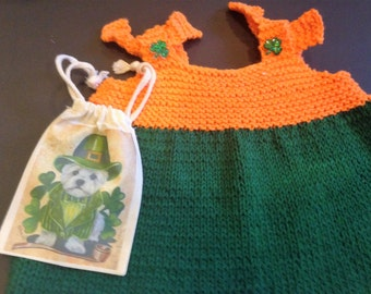 Girl's knit pinafore St Patrick's Day