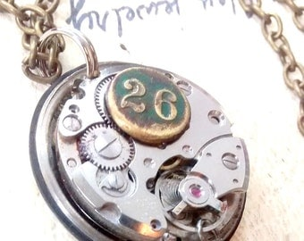 Antique watch works necklace  industrial primitive steampunk Art Jewelry upcycled recycled