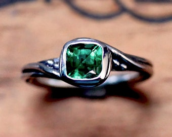 Emerald engagement ring - engagement ring silver - ethical engagement ring - lab created emerald ring - Pirouette - custom made to order