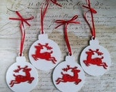 White wood bauble Christmas ornaments decorations, with red reindeer set of 4