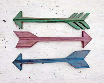Three Arrows, Nursery Decor, Tribal Decor, Reclaimed Wood Wall Art, Boho Room Decor, Rustic Arrow Decor, Decorative Arrow,  Bohemian Decor,