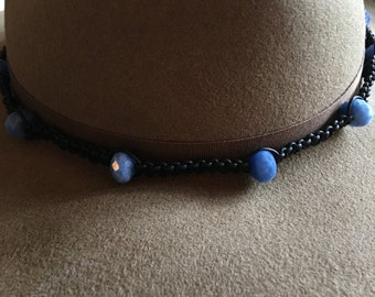 Hat Band Leather Chalcedony hand made ceramic beads Black & Blue