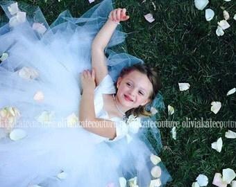 Flower Girl Dress, Girls dress, silk dress, princess dress, 2016 wedding, tutu dress, tulle dress, ivory dress, baby dress, special occasion