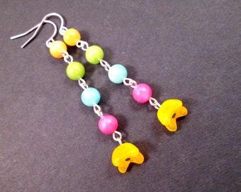Gemstone Flower Earrings, Yellow Bells, Candy Jade and Silver, Long Dangle Earrings, FREE Shipping U.S.