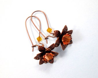 Flower Earrings, Amber Glass and Brass Dangle Earrings, FREE Shipping U.S.