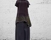 SALE Asymmetric Tunic M Medium Recycled Eco Friendly Women Earthy Handmade Clothing Ruffled Charcoal brown olive White Shirt Top