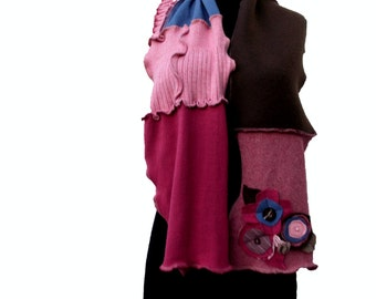 SALE Patchwork Scarf Ruffled Earthy Pink Brown Sky Blue Recycled