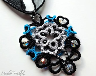 Lace pendant black tatted knotwork with Swarovski crystal beads