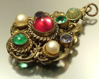 Vintage/ estate Art Deco 1940s/ Czech style, brass and paste / glass costume pendant