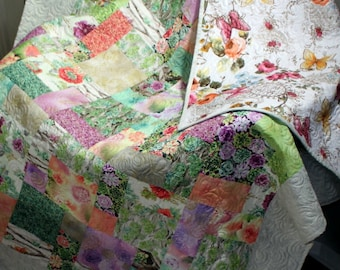 "OASIS Sofa Throw, Bed Coverlet, drop Dead Gorgeous pinky Quilt 56"" x 75"" Ready to Ship"