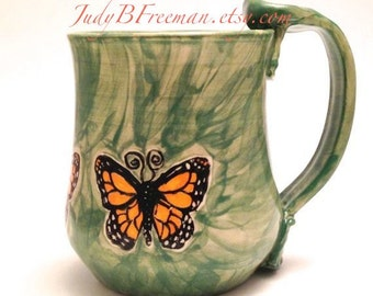 Ceramic Mug Monarch Butterflies on Leaf Green 12 Ounces Made to Order MG0045