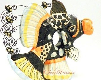 Ceramic Handmade Fish Teapot Decorative Clown Triggerfish Made to Order Stoneware Wheel Thrown TPT003