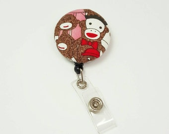 Retactable ID Badge Reel / ID Badge Holder / Name Badge Clip / Badge Pull / Button Badge Holder - Sock Monkeys