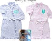 Seersucker ruffle robe - monogrammed - with pocket - blue seersucker or pink seersucker - bridesmaid or new mom gift - mother's day gift