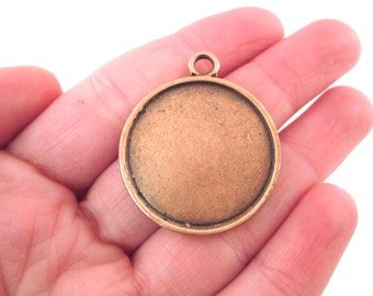 SALE Round 27mm round pendant settings, copper plated, double sided, B109