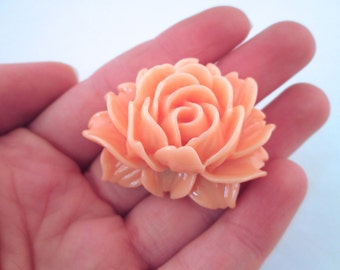 2 Salmon Pink Cabbage Roses 45x34mm