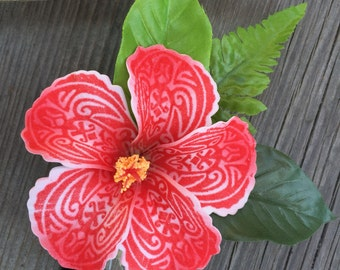 New- tattoo hibiscus hair clip. Polynesian costume, hula dance costume flower