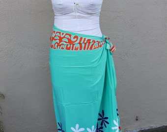 Aqua Mint, orange, royal blue and white tattoo tiare premium Tahitian pareo Full or half sized, Tahitian costume skirt