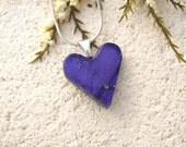 Petite Purple Heart Necklace, Dichroic Heart Necklace, Fused Glass Jewelry, Dichroic Jewelry, Purple Necklace, Silver Necklace, 011616p110