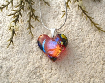 Petite Red Heart, Dichroic Heart, Rainbow Heart, Silver Necklace, Love Jewelry, Glass Jewelry, Fused Glass Jewelry, Red Necklace, 062816p102