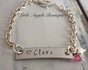 Child Hand Stamped Personalized Bracelet with Swarvoski Crystal Birthstone BE001
