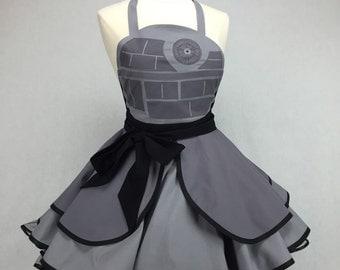 Star Wars Inspired Handmade Death Star Apron - Full Circle Skirt Pin Up Cosplay Costume