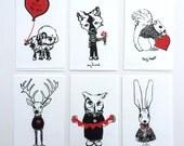 Valentine notecards- Wildlife in Sweaters