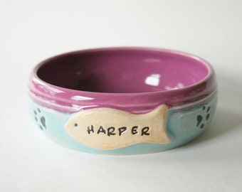 One Custom Cat Food Bowl, 4 week wait time, Made to order and Personalized with Pet Name
