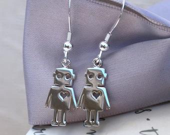 Robot Love earrings - Sterling Silver