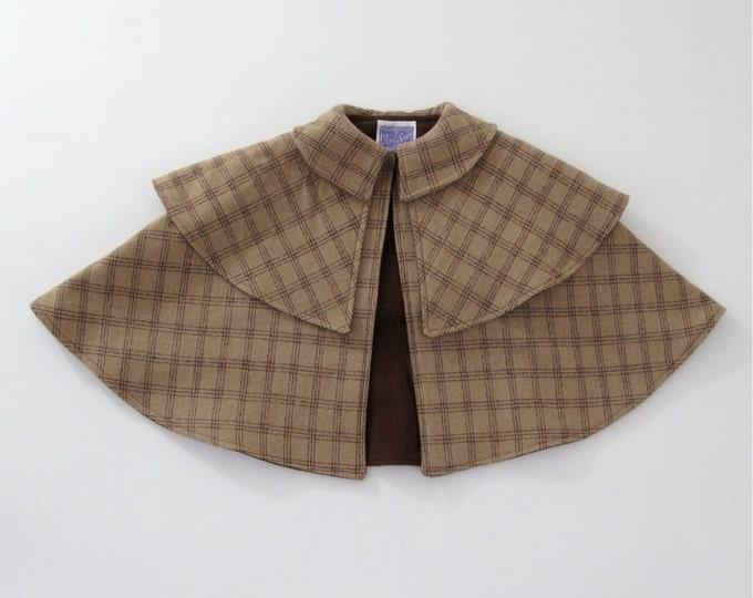 Sherlock Holmes Detective Cape, Wool Cape, Girls Cape, Boys Cape, Toddler Cape, Baby Cape, Kids Cape, Plaid Cape, Inverness Cape Costume