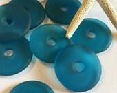 Sea glass bead ~ beach glass donut ~ sea glass jewelry ~ Seaglass donut ~ beach glass bead~ large hole bead~ center drilled Seaglass ~ round