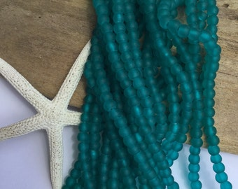 Sea glass beads ~ blue beach glass beads ~ recycled cultured sea glass ~ sea glass jewelry ~ round blue beads ~ Carribean blue tropical bead