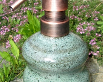 Stoneware Soap Dispenser with Undulating Curves in Gemstone Green with Copper Pump