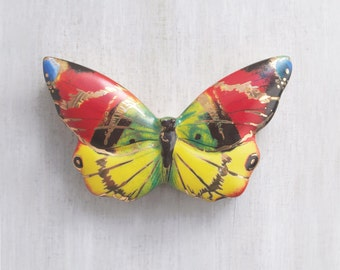 Vintage Porcelain Butterfly Box - colorful ceramic trinket jewelry box  - red yellow green