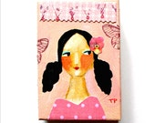 ORIGINAL acrylic painting Happy New Year Girl pale pink fresh art for 2016 mixed media collage portrait painting ACEO mini art by Tascha