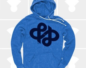 Ampersand Typography Shirt, & Ampersand Infinity Hoodie, Typography Pullover Sweatshirt, Swiss, Graphic Design, Hipster, Gift for Men, Blue