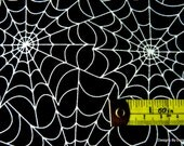 """One Fat Quarter Cut Quilt Fabric, Halloween/Goth, """"Spider Web"""", GLOW N THE DARK, from Timeless Treasures, Sewing-Quilting-Craft Supplies"""